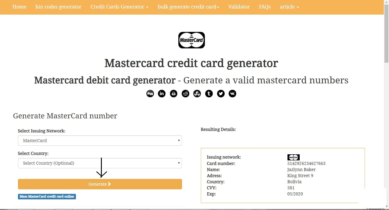 credit card generator with name and address